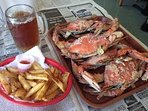 Crabs, beer and fries- only available at the beach