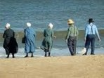 Amish Folk enjoying a day off at the ocean