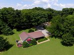 Drone overhead photo of Property around cabin.