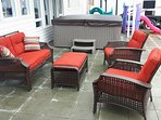 Enjoy the Patio with Comfy Furniture, Hot tub, Small Kids Play Structure, BBQ, Trampoline