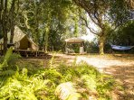 Gabriel - our luxurious, private 6m bell tent with separate kitchen and bathroom area