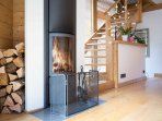 Log wood burner in the lounge area