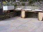 Garden seating bench in south facing courtyard