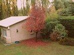 Vista de la cabaña en otoño