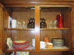 Glasses, plates, wine glasses, cutting boards, trivets, etc.  Lots of options for meal times!