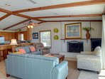 The living area is the perfect place to relax after a long day on the beach!