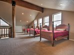 There are 4 twin-sized beds in the loft, and plenty of extra space for additional sleeping accommodations with sleeping...