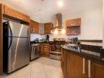 Spacious gourmet kitchen, fully stocked