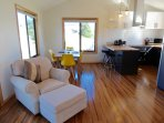 Light filled open plan living, dining and kitchen areas.