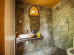 The toilets are fitted with solar water heater for your warm showers.
