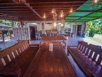The ground floor has huge chill out benches and seats to enjoy your meals. There is a fully equipped