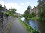 canal tow path just five minutes walk away