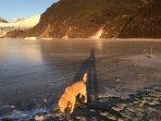 Sunset while facing Mendenhall Glacier & Mendenhall Lake