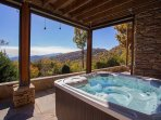Hot tub on the lower patio