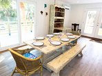 Wrangle up the troops to eat at the dining table, which comfortably seats 8 people!