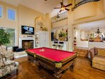 Pool Table Room with Big Screen TV & Sterio