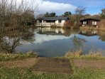 Fishing lake on Shorefield Country Park - rod license required