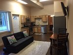 In-Floor heated Laminate and Tile throughout this like new studio!