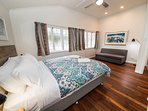 Bedroom with Queen bed, Sofa bed (double) & mirror wardrobe (air conditioned & ceiling fan).