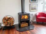 The wood fireplace provides a cozy atmosphere during the cooler winter months (operated seasonal).