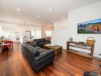 With open plan living there is plenty of space for everyone to sit and enjoy each others company.