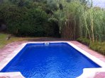 The pool in a protected corner of the finca