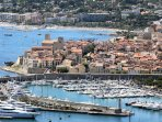 Antibes Marina & Old Town. The apartment is just behind the old town on this picture.