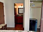 Large closet with compact fridge, iron, extra blanket. Private, in-room bathroom.