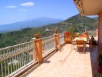 The terrace and Mount Etna