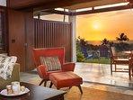 Detail Living Room and Lanai Sunset Ocean View