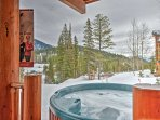 Enjoy unrivaled mountain views and watch skiers and snowboarders carve by from your private hot tub.