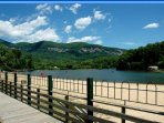 Beautiful Lake Lure with children's play area, childrens water slide and lifeguards