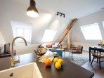 Küche und Wohnen Ferienwohnung Ludgerushof Bocholt