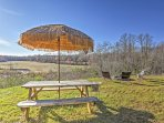 This beautiful vacation rental cabin home sits on 20 acres of private land.