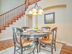 Gather around the dining table for formal meals.