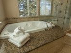 Enjoy a soak in the jetted tub after a long day.