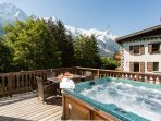 Hot tub with stunning mountain views