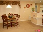 Dining area, great room and kitchen all open space.