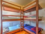 The 2 bedrooms with 2 sets of bunk beds provide lots of sleeping arrangements for larger groups.