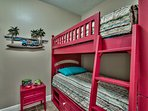 Perfect for younger children, this room features twin-over-twin bunk beds!
