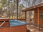 Enjoy the fresh air from the 6 person hot tub!
