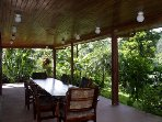 Outdoor Seating/Dining Area With Views of Jungle and Volcano
