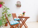 Rear terrace adjacent to main bedroom for your morning breakfast