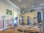 Stay fit in the community workout room.