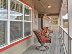 Look out onto the beautiful 4 acres and apple orchard from the large, wrap around deck.