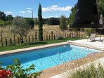 Country views from heated,saltwater pool