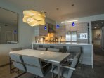 Dining room with custom lighting