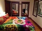 Master bedroom Memory foam king size bed.  Built in closet.