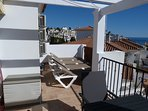 Balcony with Sun Beds, Partial View of Table & Chairs & Sea View