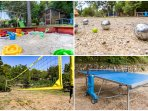 Sandpit, Table Tennis, Volley ball/Badminton court, boules ground (pétanque) with lighting